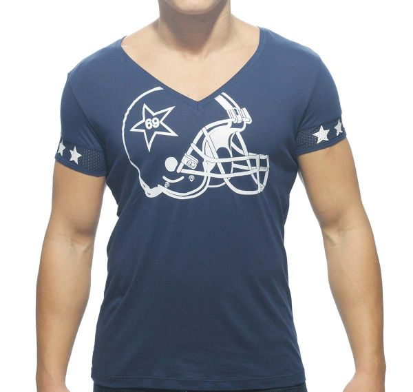 Addicted T-Shirt V-NECK HELMET AD300, navy