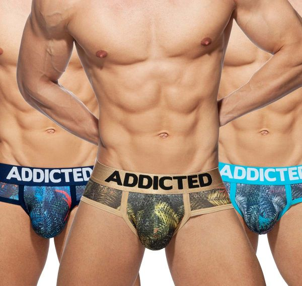 Addicted 3er Pack Herrenslips 3 PACK TROPICAL MESH BRIEF PUSH UP, AD889P, mehrfarbig