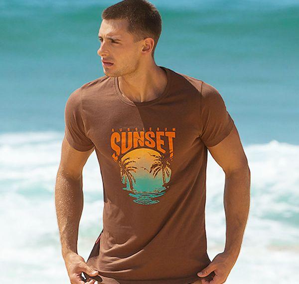 aussieBum T-Shirt DESIGNER TEE SUNSET, braun