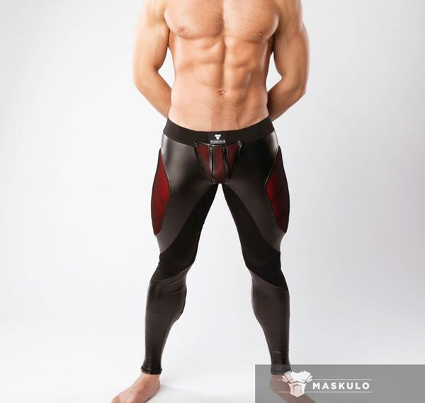 MASKULO Fetish Leggings ARMORED. COLOR-UNDER. LG062, schwarz/rot