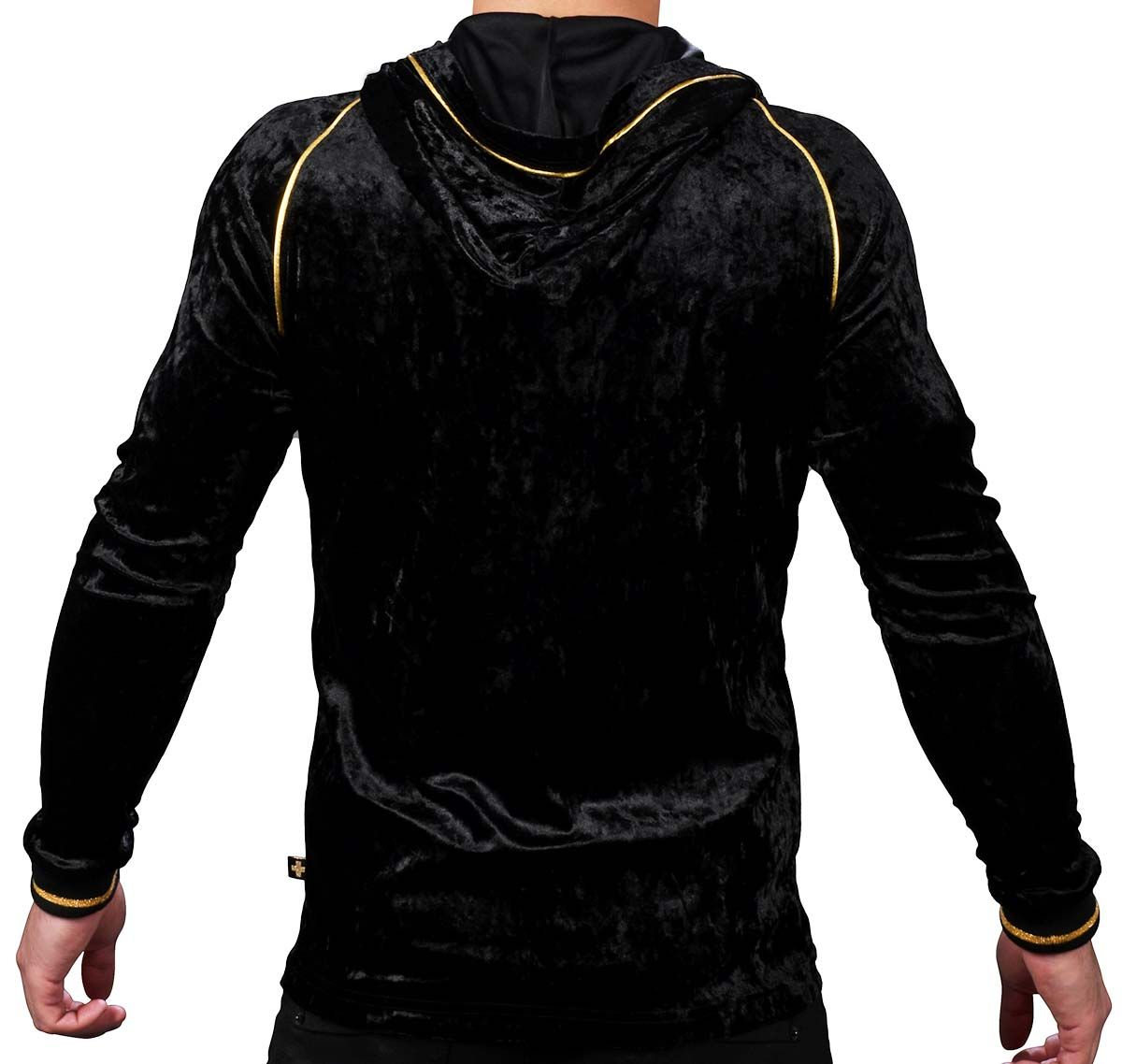 Andrew Christian Chaqueta con capucha MIDNIGHT HOODIE w/ GOLD LOGO CHARM 5143, negro