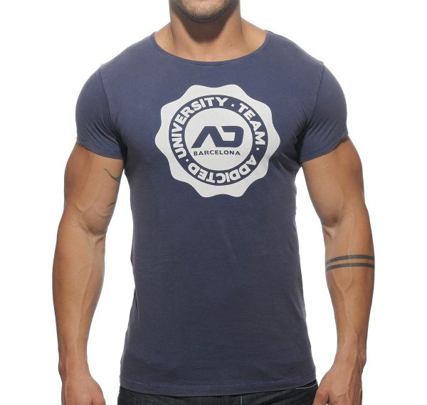 Addicted T-Shirt CREW NECK STAMP AD265, navy