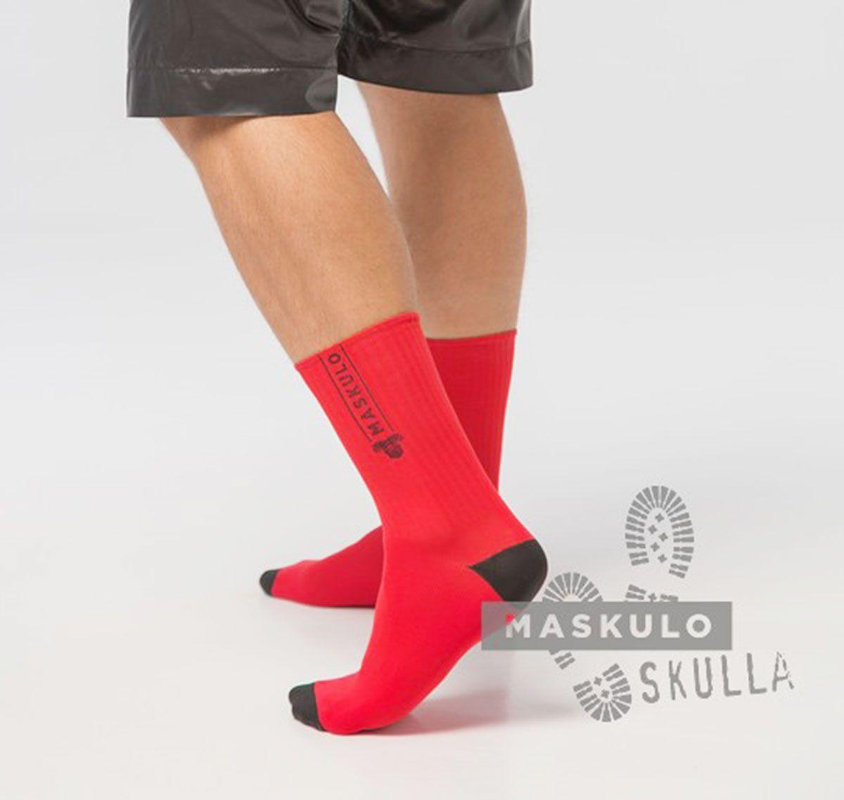 MASKULO Chaussettes Fétiches SKULLA. AC077, rouge