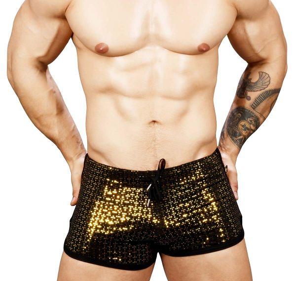 Andrew Christian kurze Sporthose NIGHTLIFE SPARKLE DANCE SHORTS 6539, schwarz/gold