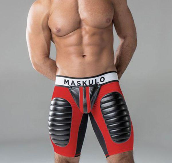 MASKULO Fetish Shorts ARMORED. Zippered Rear SH17-10, rot