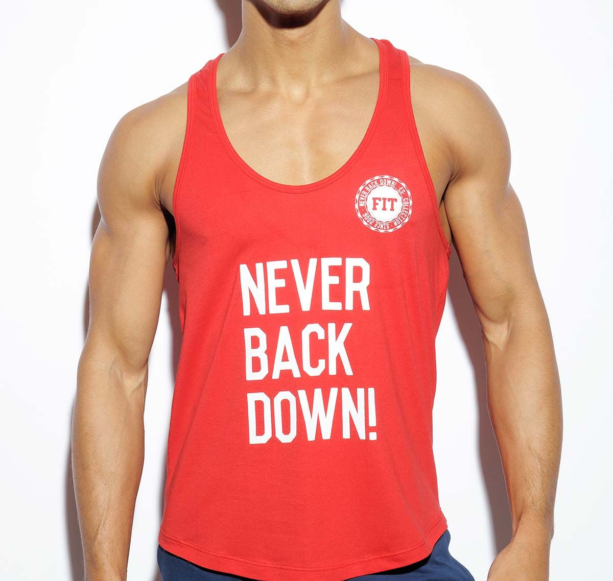 ES Collection NEVER BACK DOWN TANK TOP TS169, rot