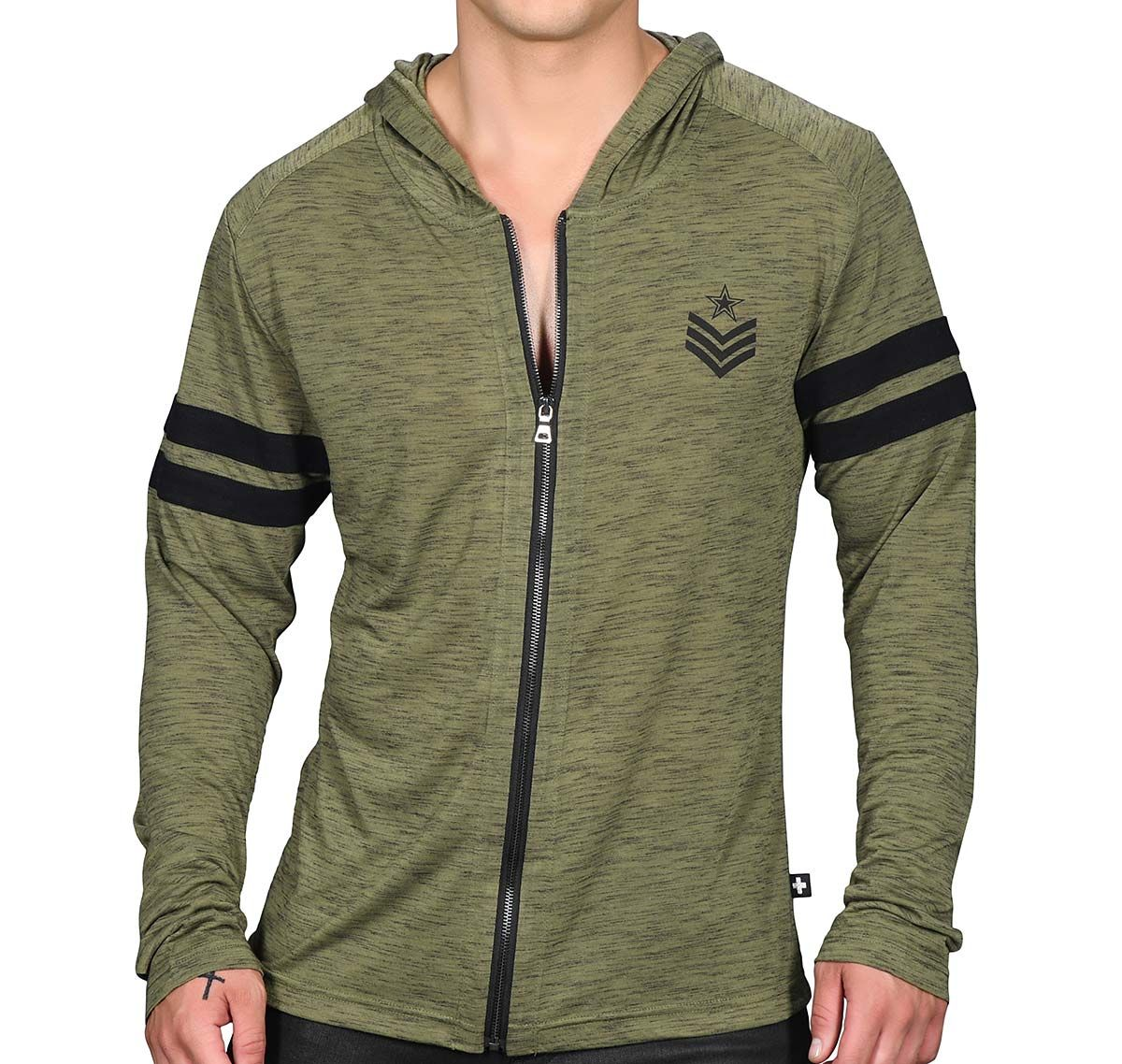 Andrew Christian Giacca con cappuccio SERGEANT BURNOUT HOODIE 5137, verde