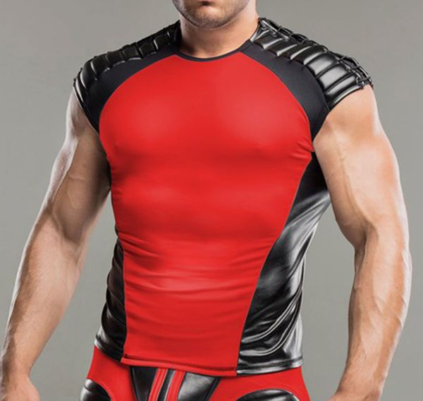 MASKULO Fetish Tank Top ARMORED. Shoulder Lacing TP21-10, rot