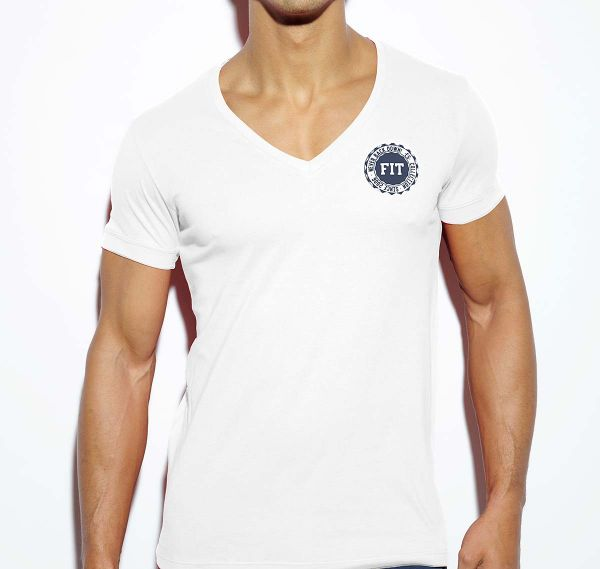 ES Collection NEVER BACK DOWN V-NECK T-SHIRT TS173, weiß