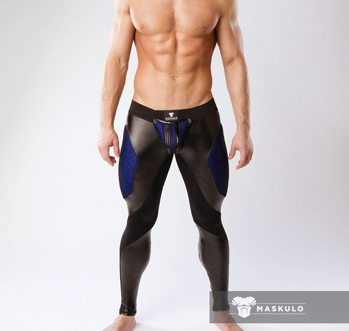 MASKULO Leggings Fetish ARMORED. COLOR-UNDER. LG062, nero/blu