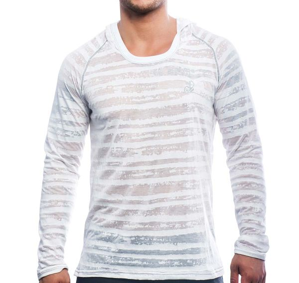 Andrew Christian Hoody ANCHOT BURNOUT STRIPE PULLOVER 10251, weiß