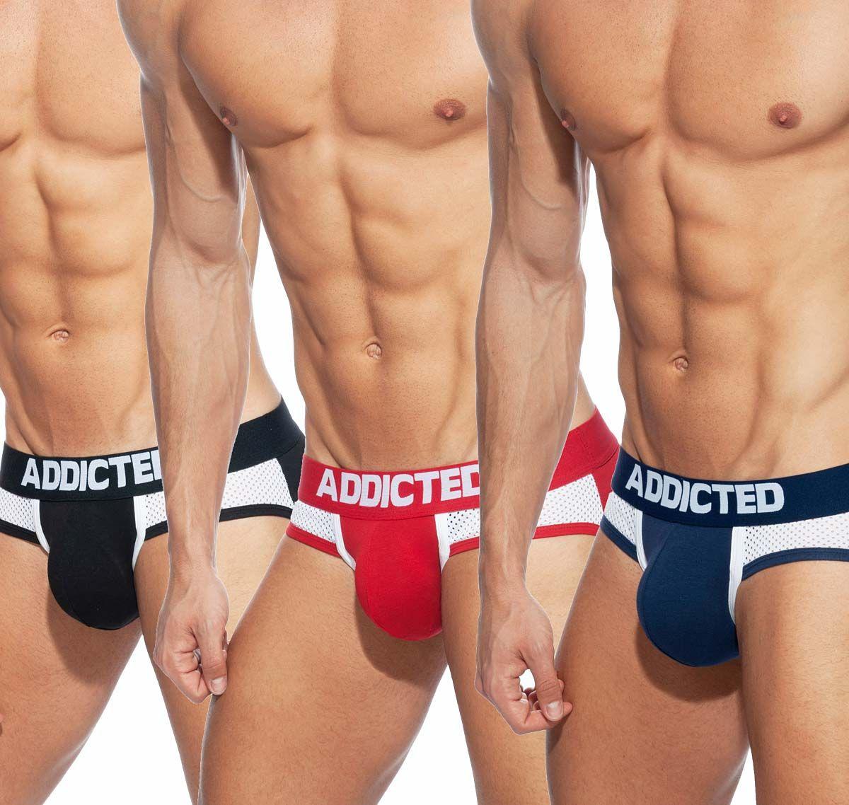 Addicted 3er Pack Slip COMBI MESH BRIEF AD845P, blau, schwarz, rot