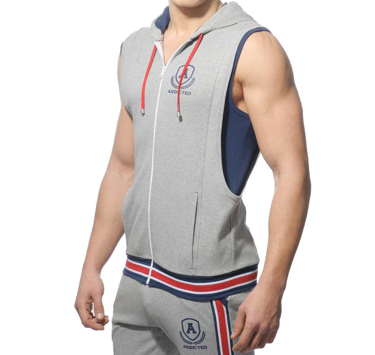 Addicted Sportjacke ZIP COTTON HOODY AD334, grau