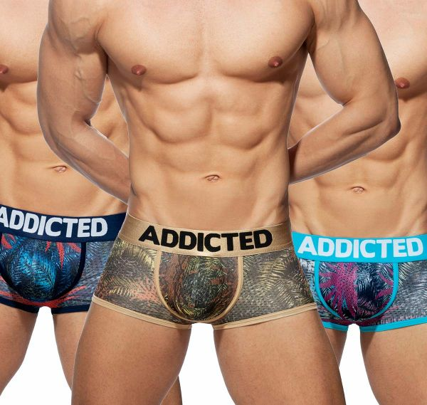 Addicted 3er Pack Boxershorts 3 PACK TROPICAL MESH TRUNK PUSH UP, AD890P, mehrfarbig