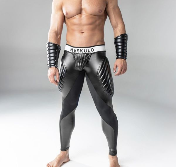 MASKULO Fetish Leggings ARMORED. Zipped Rear LG22-90, schwarz