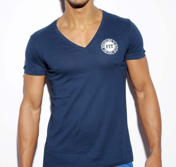 ES Collection NEVER BACK DOWN V-NECK T-SHIRT TS173, navy