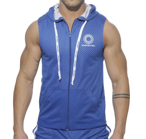 Addicted SLEEVELESS AIR-MESH HOODY AD210, schwarz, royalblau