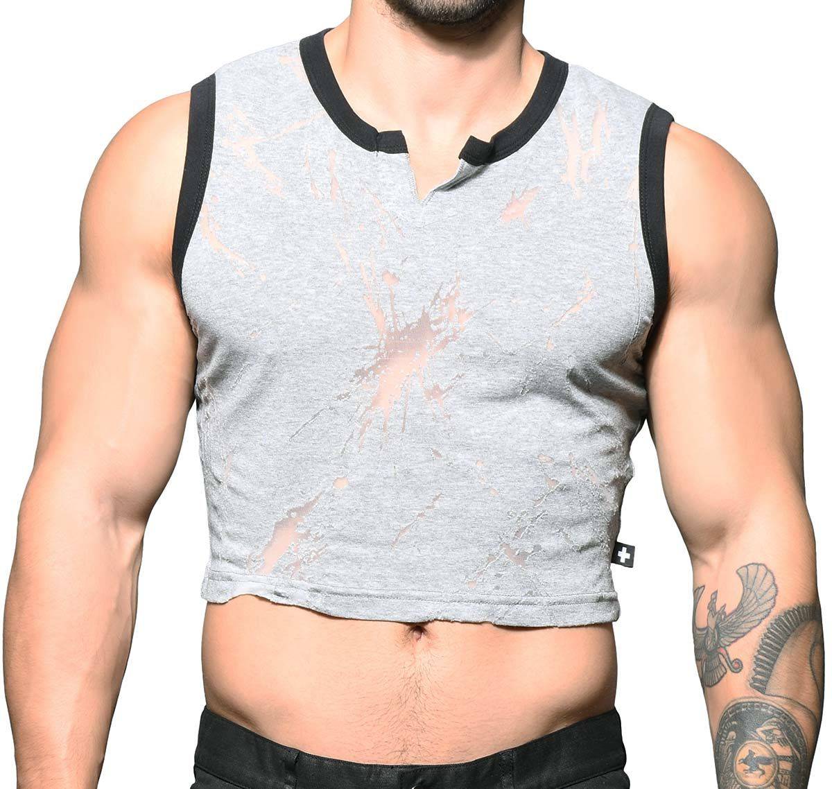 Andrew Christian T-shirt BLAST BURNOUT CROP GYM TANK 2787, grey