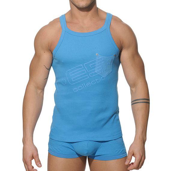 ES Collection Sportshirt Rib Tank Top T-Shirt blau