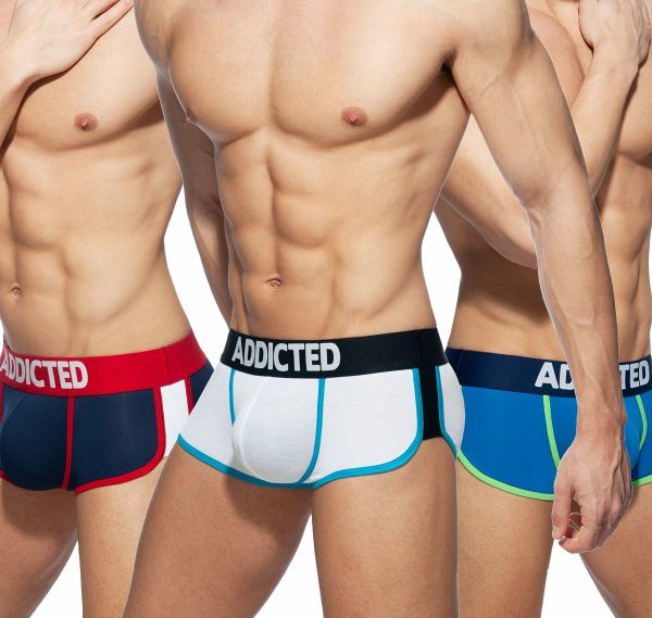 Addicted 3er Pack Boxershorts SECOND SKIN 3 PACK TRUNK, AD898P, weiß, royalblau, navy