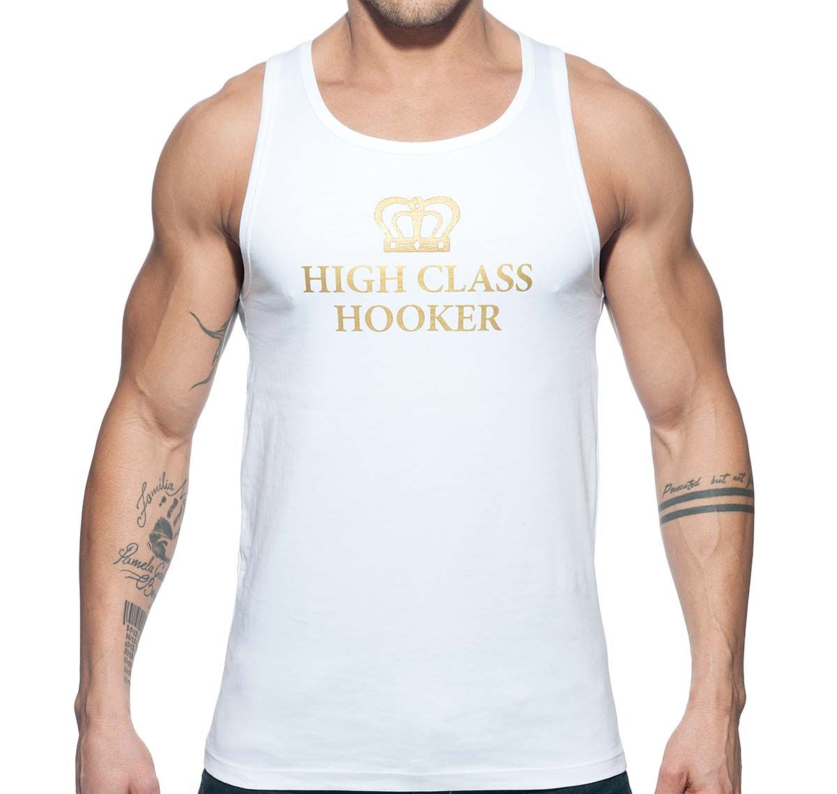 Addicted Tank Top HIGH CLASS HOOKER TANK TOP AD646, white