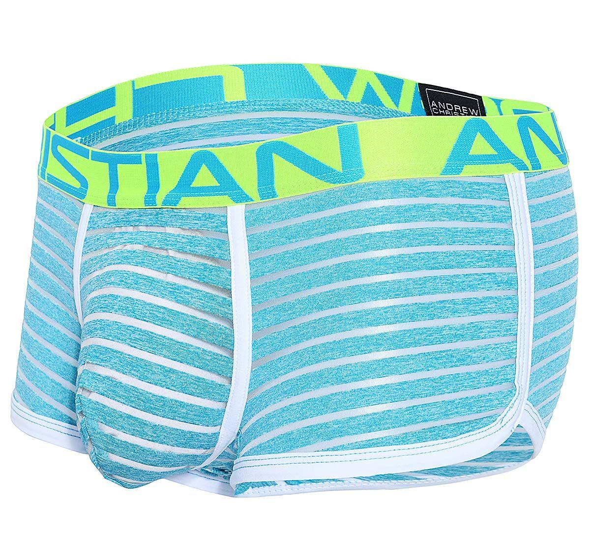 Andrew Christian Boxershorts AQUA SHEER STRIPE BOXER w/ ALMOST NAKED 91388, blau