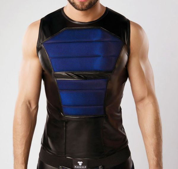 MASKULO Fetish Tank Top ARMORED. COLOR-UNDER. TP060, schwarz/blau