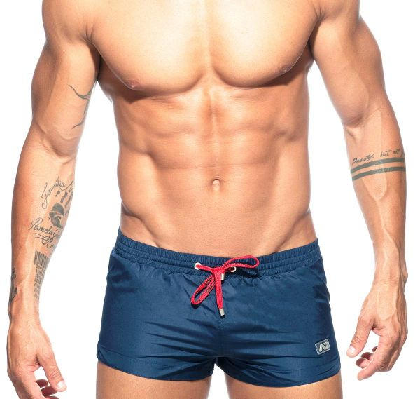 Addicted Badeshorts BASIC MINI SWIM SHORT ADS111, navy mit rotem Schnürband
