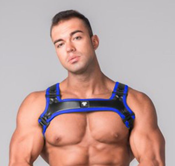 MASKULO Imbracatura YOUNGERO GENERATION Y. Men´s Fetish Bulldog Harness. HR110-37, blu