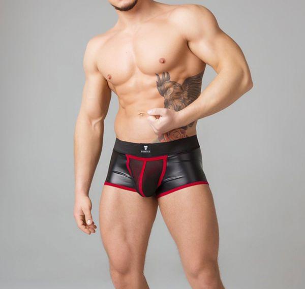 MASKULO Fetish Boxershorts YOUNGERO. Mesh Codpiece TR051-10, rot