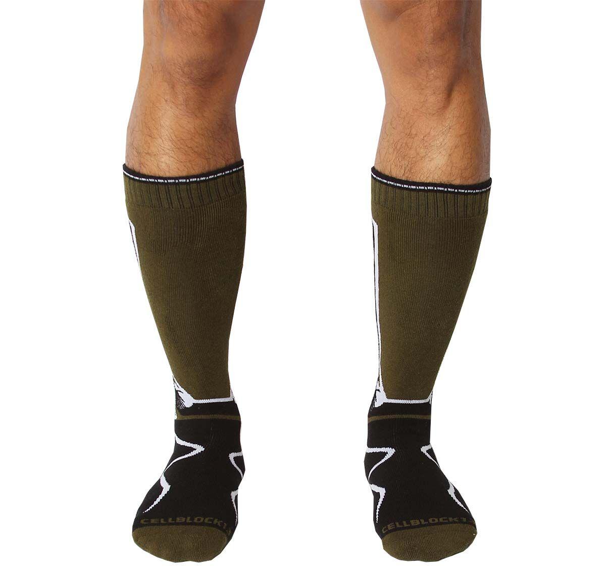 Cellblock 13 Calze sportive KENNEL CLUB Mid-Calf SOCK, verde army