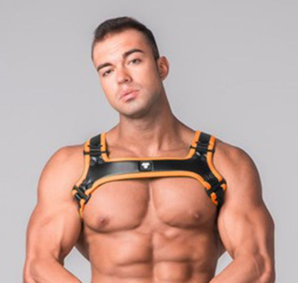 MASKULO Imbracatura YOUNGERO GENERATION Y. Men´s Fetish Bulldog Harness. HR110-16, arancione