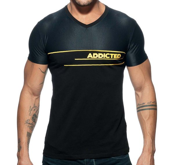 Addicted V-Neck AD COMBI MESH T-SHIRT AD660, schwarz