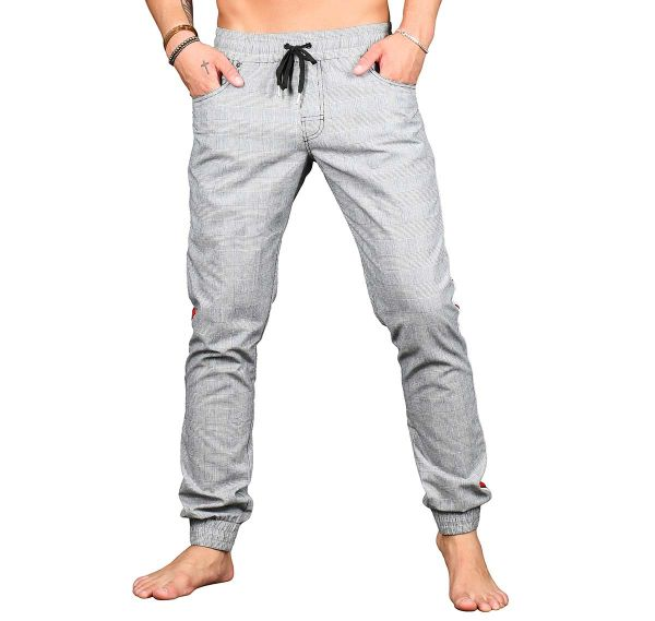 Andrew Christian Pantalon long lounge OXFORD PLAID JOGGER PANTS 4143, gris