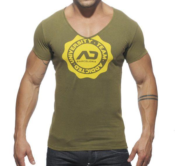 Addicted V-Neck STAMP T-Shirt AD264, khaki