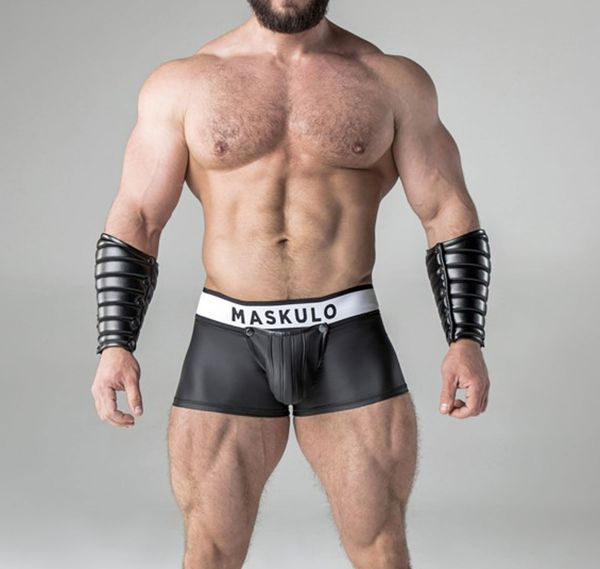 MASKULO Fetish Boxershorts ARMORED. Rubber Look Backless TR20-90, schwarz
