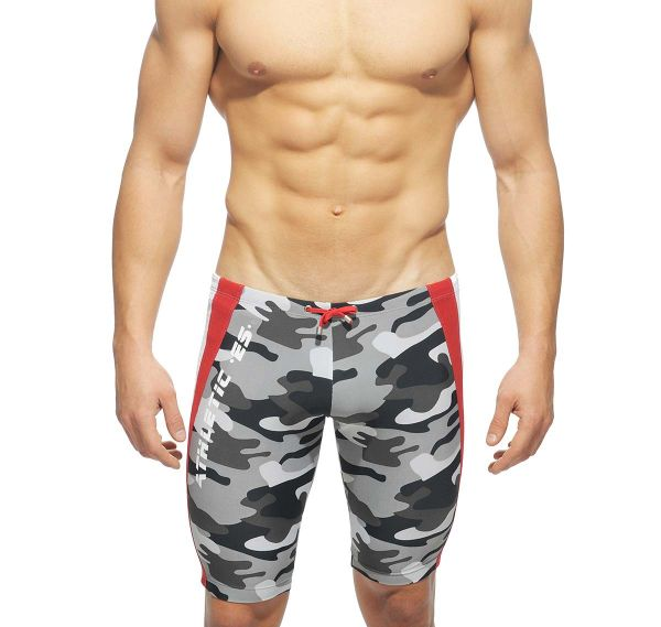 ES Collection kurze Laufhose SHORT RUNNING PANTS SP044, rot/camouflage