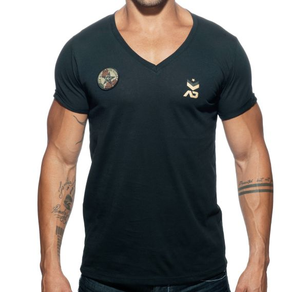 Addicted V-Neck MILITARY T-SHIRT AD610, schwarz