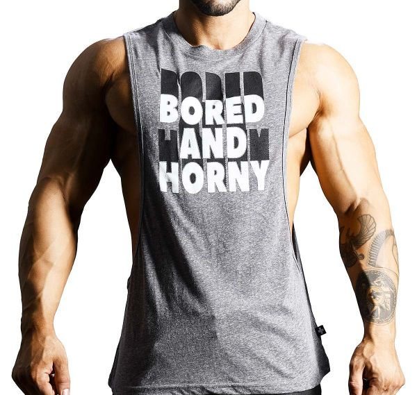 Andrew Christian Tank Top BORED AND HORNEY 2741, grau