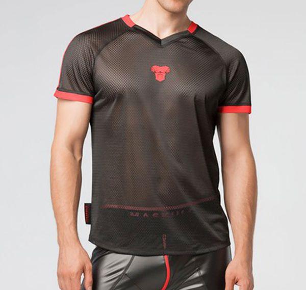 MASKULO Fetish Mesh T-Shirt SKULLA. TS070-10, rot