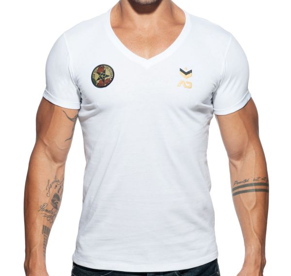 Addicted V-Neck MILITARY T-SHIRT AD610, weiß