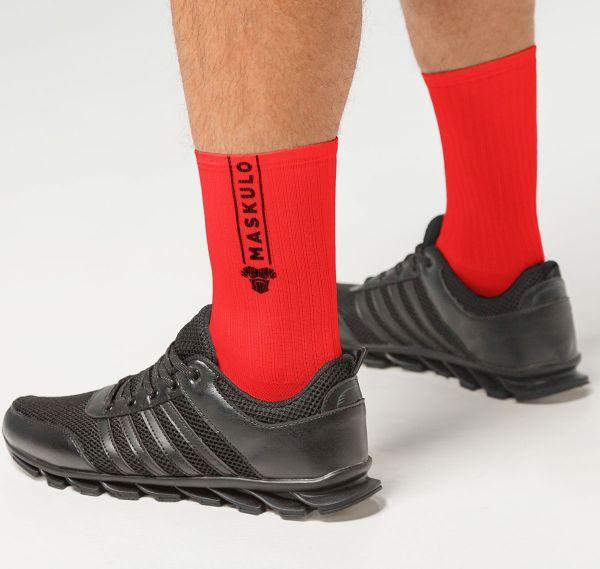 MASKULO Fetish Socks SKULLA. AC077, rot