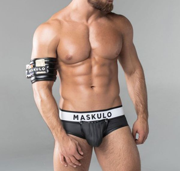 MASKULO Fetish Slip ARMORED. Rubber Look Zipped Rear BR12-90, schwarz