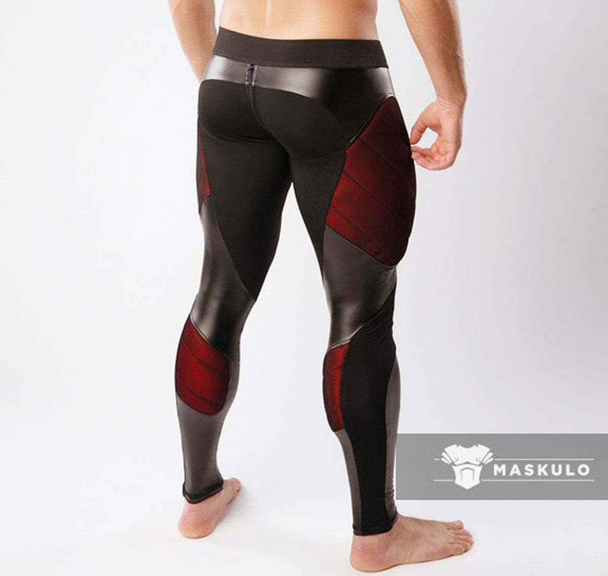 MASKULO Leggings Fetiche ARMORED. COLOR-UNDER. LG062, negro/rojo