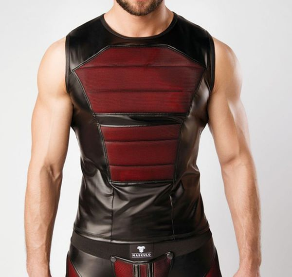MASKULO Fetish Tank Top ARMORED. COLOR-UNDER. TP060, schwarz/rot