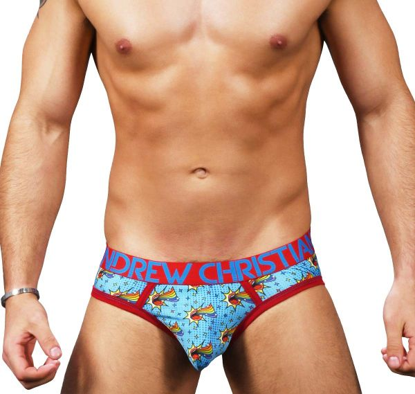 Andrew Christian Slip OUT & PROUD RAINBOW BRIEF w/Almost Naked 91269, multicolore