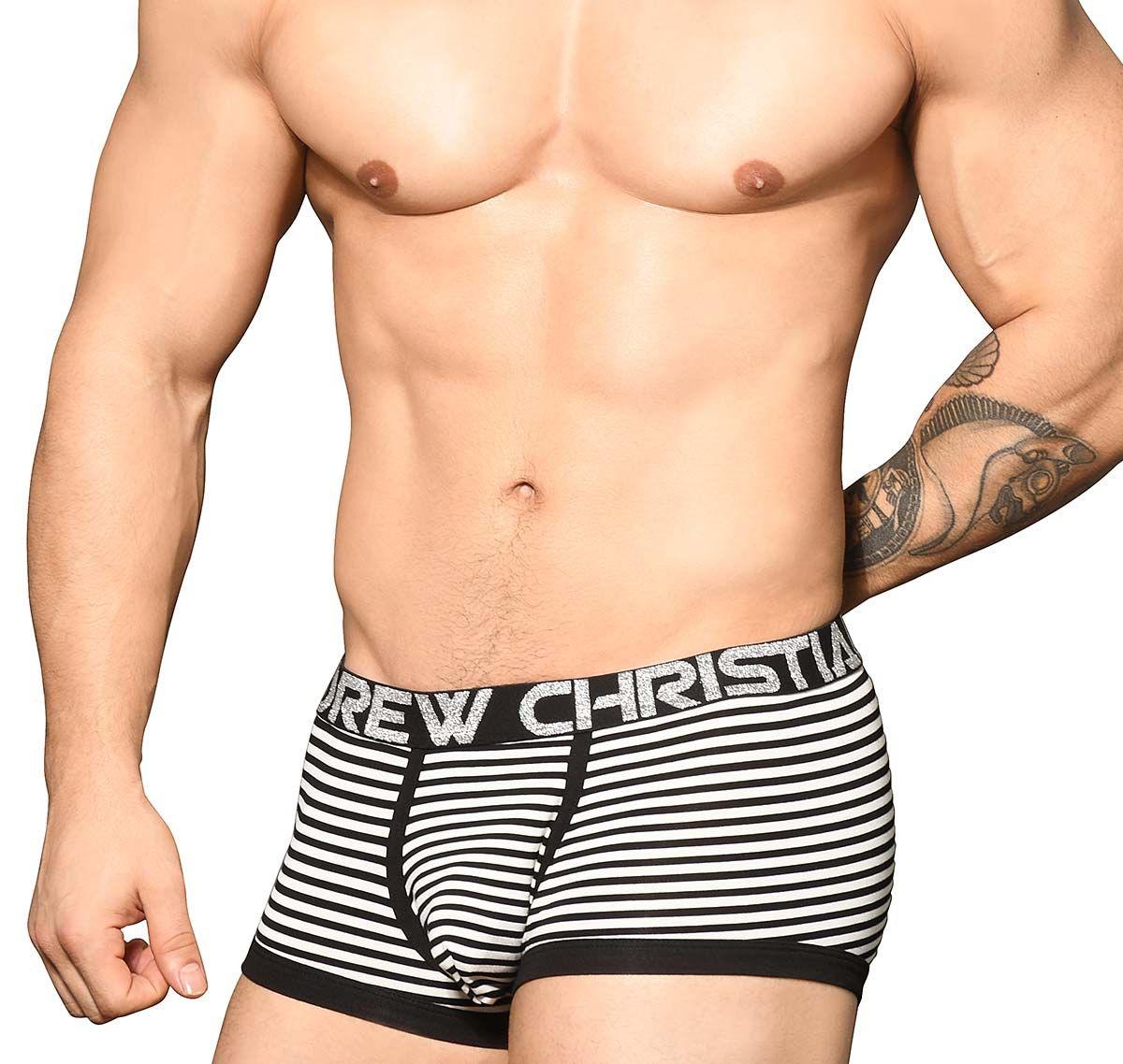 Andrew Christian Boxers PRIMARY STRIPE BOXER w/ Almost Naked 91685, black-white