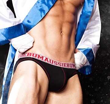 aussieBum Herren Unterhose HUNK Rev, schwarz/rot