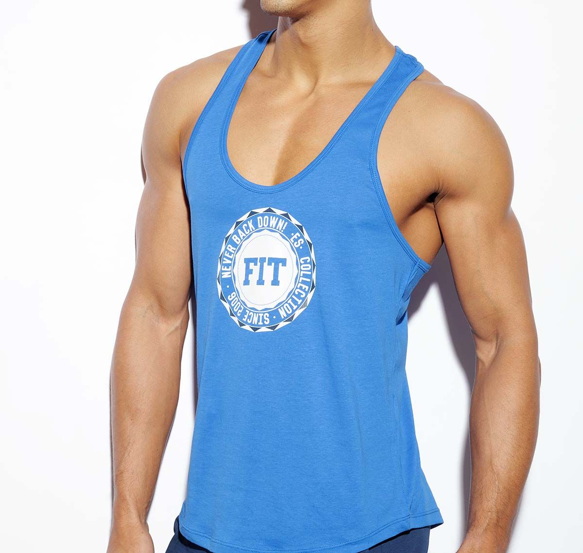 ES Collection NEVER BACK DOWN BADGE TANK TOP TS170, royalblau