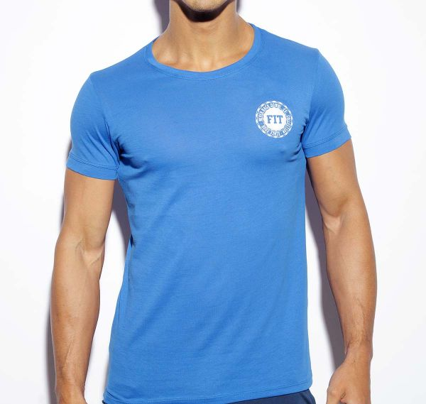 ES Collection NEVER BACK DOWN U-NECK T-SHIRT TS172, royalblau